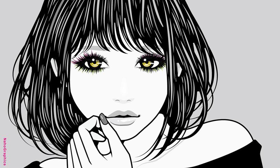"""""""瞳の綺麗な女性のイラスト"""""""