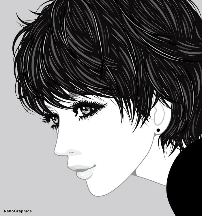 """""""ボーイッシュな女性のモノクロイラスト"""""""