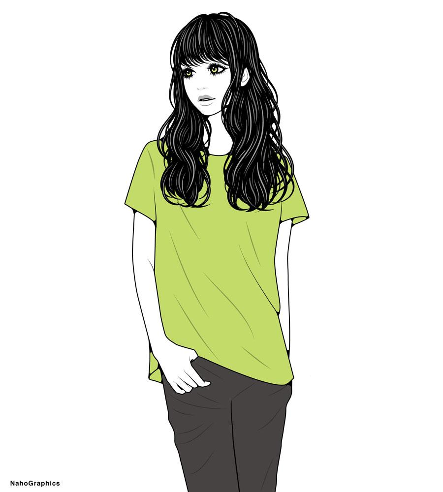"""""""Tシャツを着た女性のイラスト"""""""
