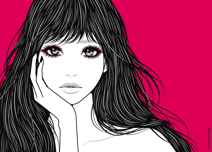 目力のある女性のイラスト