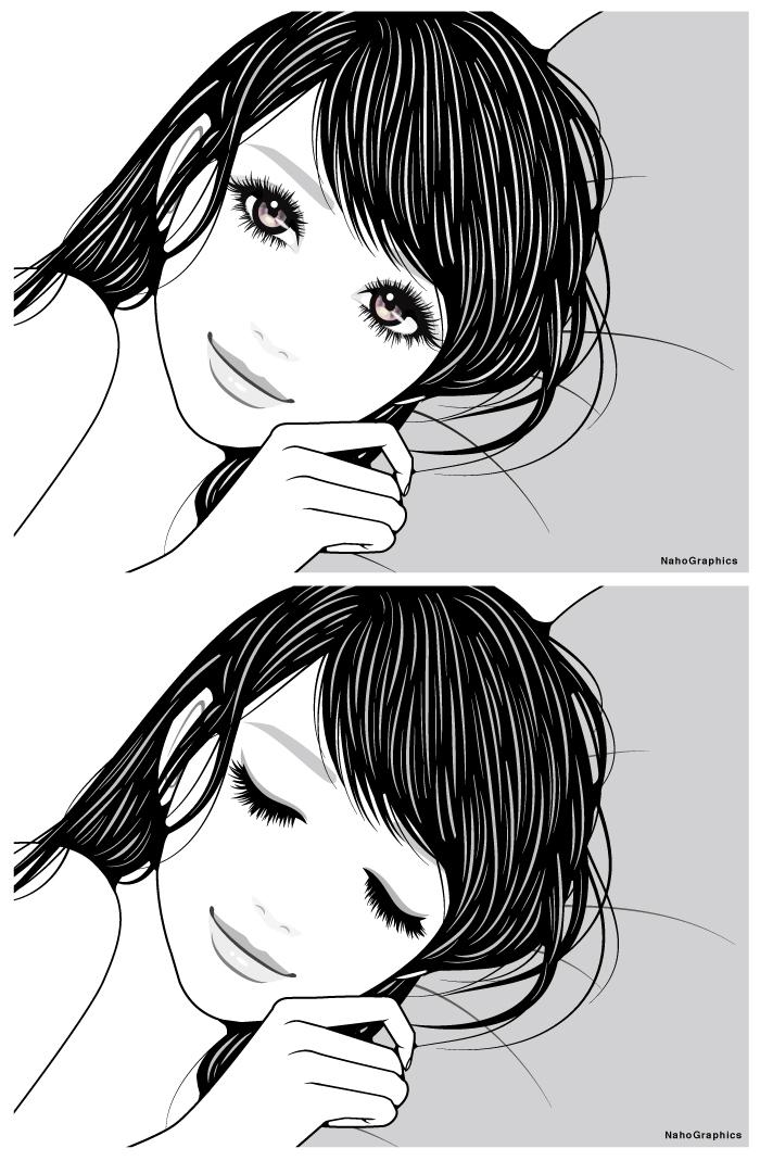 """""""寝起きの女性イラスト"""""""