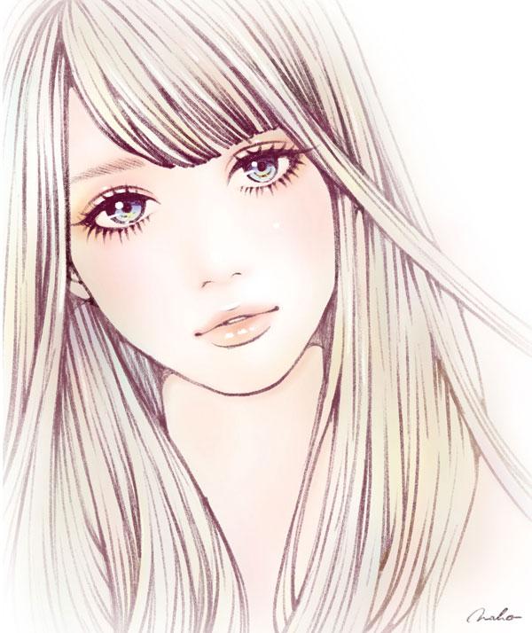 """""""色鉛筆で描いた女性のイラスト"""""""