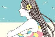 浜辺女性イラスト