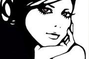 頬杖をつく女性のイラスト