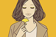 トレンチコートを着た女性のイラスト