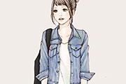 Gジャンを着た女性のイラスト