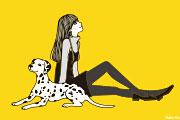 犬と女性のイラスト