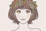 花冠をした女性のイラスト