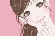 桜の花を持つ女性のイラスト