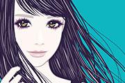 風で髪がなびく女性のイラスト