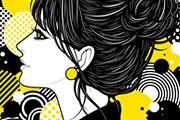 お団子ヘアのおしゃれな女性イラスト
