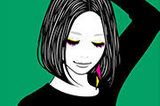 ワンレンボブの女性のイラスト