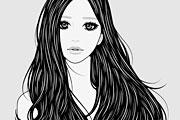 ロングヘアがなびく女性のイラスト