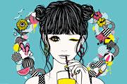 ジュースを飲む女性のイラスト