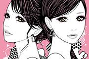 双子の女性イラスト