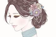 コサージュをつけた綺麗な女性のイラスト