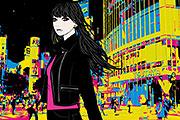 渋谷にいる女性のイラスト