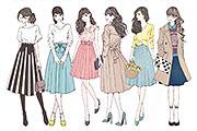 女性の全身ファッションイラスト