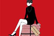 プレゼントの上に座る女性のイラスト