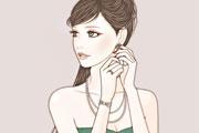ピアスをつける女性のイラスト