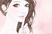 口元に指を当てる女性のイラスト