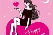 バレンタインの女性イラスト