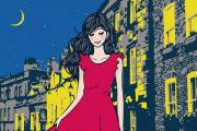 街を歩く女性のイラスト